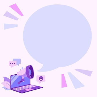 Laptoptekening die blije opmerkingen en goede reacties deelt op chat cloud via megafoon. tablettekening die prachtige recensie verspreidt over een megafoon.