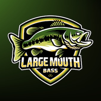 Largemouth bas visserij esport mascotte