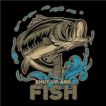 Largemouth bass vissen met water splash en typografie shut up and fish
