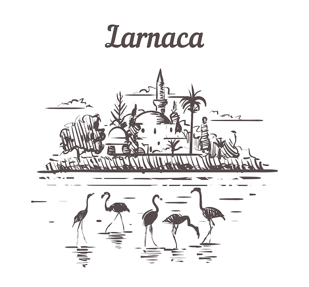 Larnaca, cyprus schets landschap