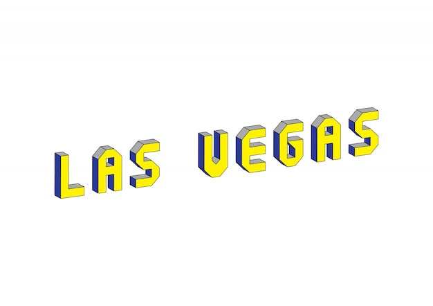 Las vegas-tekst met 3d isometrisch effect