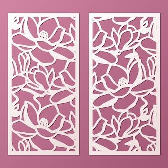 Laser en gestanst sierpanelen sjabloon met patroon van magnolia bloemen. kabinet fretwork paneel. lasercut metalen paneel. houtsnijden.