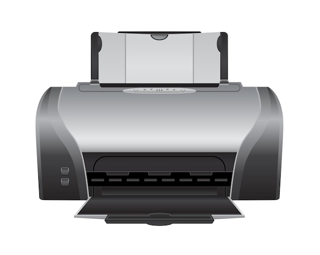 Laser printer machine 3d-pictogram op wit