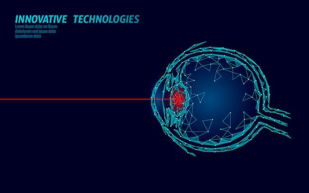Laser visie correctie geneeskunde operatie concept. innovatietechnologie gezondheidszorg. eye 3d laag poly veelhoekige driehoek biometrische scanner. oogheelkunde menselijke oogbol