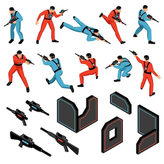 Lasergame spel munitie versnelling infrarood gevoelige doelen vesten kanonnen spelers isometrische pictogrammen instellen geïsoleerde vectorillustratie