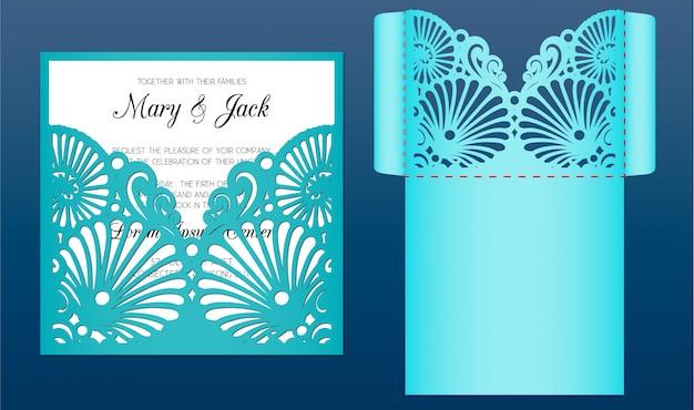Lasergesneden bruiloft uitnodiging kaartsjabloon in mariene stijl ,. gestanste zakenvelop met patroon van schelpen. geschikt voor wenskaarten, uitnodigingen, menu's.