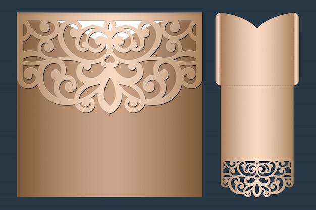 Lasergesneden bruiloft uitnodiging sjabloon. bruiloft opengewerkte zak envelop met abstract snijden ornament.