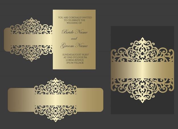Lasergesneden buikband voor huwelijksuitnodigingen. kanten rand, kaartomslag. schuif inn envelopontwerp voor snijplotter.