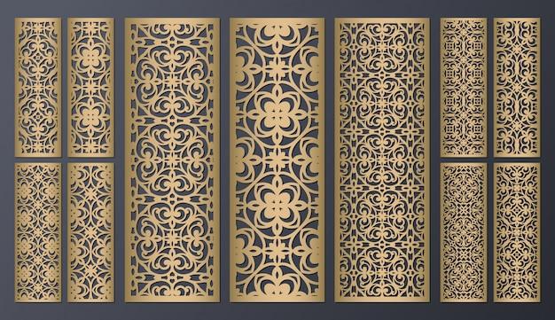 Lasergesneden decoratieve patronen met kanten randen. set bladwijzersjablonen. kabinet fretwork paneel. lasercut metalen paneel. houtsnijden