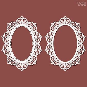 Lasergesneden frame collectie met swirls kanten rand