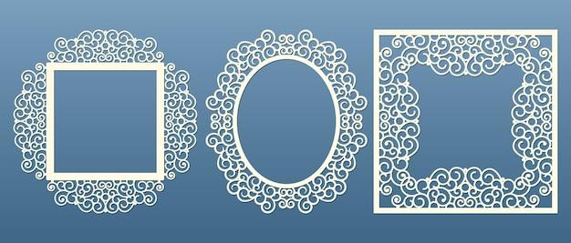 Lasergesneden framecollectie. set van abstracte frames met wervelingen, bloemen, sieraad