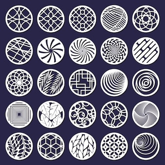 Lasergesneden rond abstract decoratief patroon. abstracte decoratieve cirkel snijden panelen geïsoleerde vector illustratie set. ronde geometrische patroonpanelen. ronde decoratie en decoratief ornament