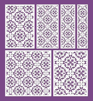Lasergesneden sierpaneelsjablonen set decoratieve kantranden patronen vector