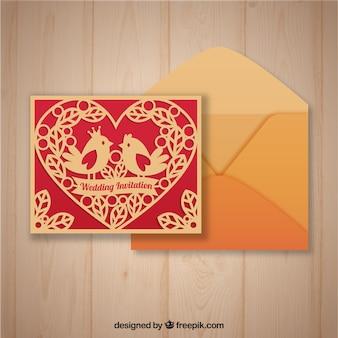 Lasergesneden sjabloon en enveloppe met vlak ontwerp