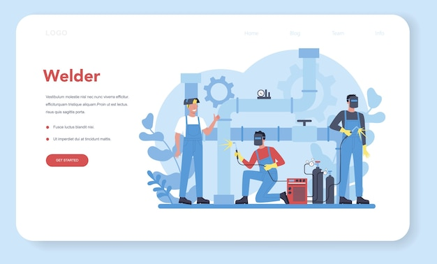 Lasser en lassen service concept webbanner of bestemmingspagina.