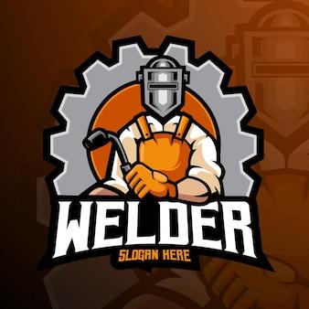 Lasser mascotte logo ontwerp illustratie vector geïsoleerd op een witte achtergrond