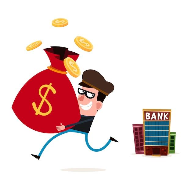 Lastige dief die geld van bank steelt