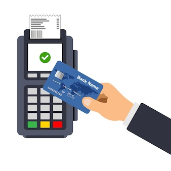 Lat ontwerp van pos-terminal met ontvangstbewijs. betaling met creditcard.