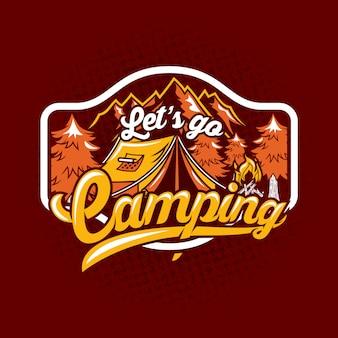 Laten we camping citaat zeggen badge