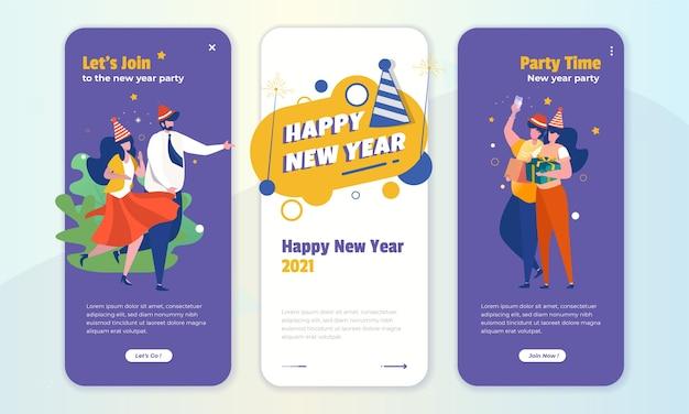 Laten we de illustratie van het nieuwe jaar vieren op het schermconcept aan boord