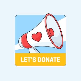 Laten we doneren campagne badge illustratie social media poster