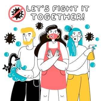 Laten we er samen tegen vechten. covid hygiënebevordering met het dragen van een gezichtsmasker, ontsmetten en handen wassen.