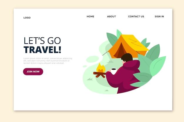 Laten we gaan bestemmingspagina reizen en kamperen