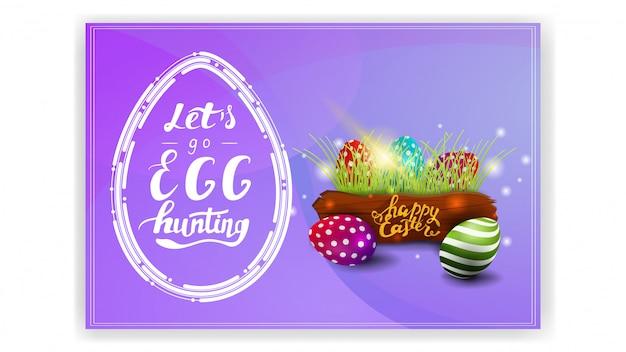 Laten we gaan eieren zoeken, paarse briefkaartsjabloon