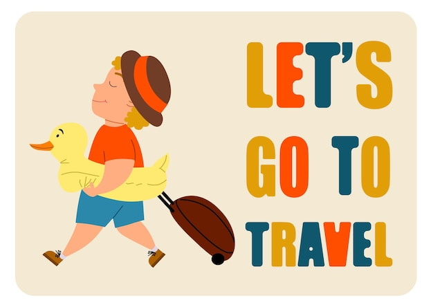 Laten we gaan reizen. een blonde, schattige jongen komt met een koffer en een eendenzwemcirkel. vectorillustratie in een vlakke stijl op een witte geïsoleerde achtergrond.