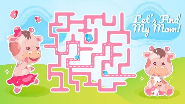 Laten we het labyrint van mijn moeder zoeken met een stripfiguurtjesjabloon. dier op zoek naar kind vindt pad doolhof met oplossing voor educatief kinderspel. schattige koe op zoek naar kalf afdrukbare platte lay-out