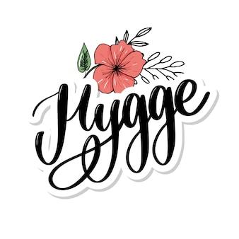 Laten we hygge. inspirerend citaat voor sociale media en kaarten.