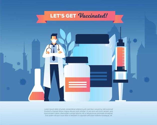 Laten we naar het gevaccineerde concept gaan met een medische injectie van een arts