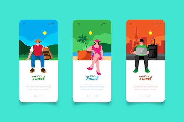 Laten we op reis gaan met mobiele app-schermen