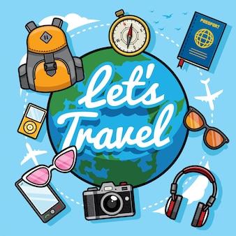 Laten we reizen met cartoonstijl