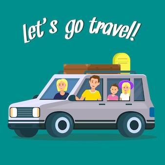 Laten we reizen vierkante banner. ouders en kinderen
