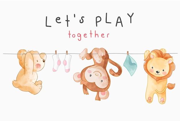 Laten we slogan spelen met schattige dieren die aan het touw hangen illustratie