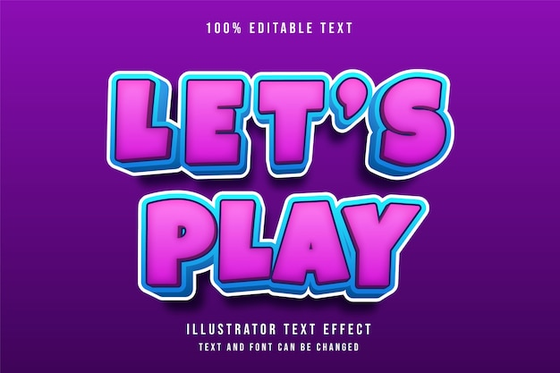 Laten we spelen, 3d-bewerkbare teksteffect roze gradatie blauwe komische stijl