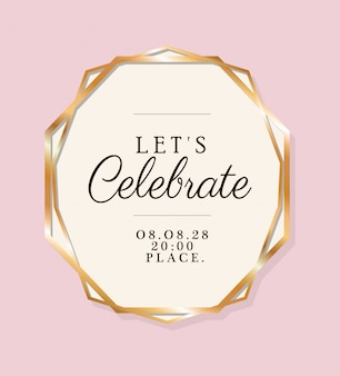 Laten we tekst in gouden cirkel van huwelijksuitnodiging vieren