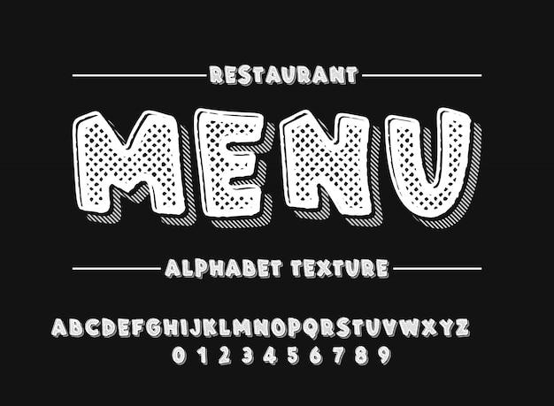 Latijns alfabet. gewaagde doopvont in de leuke witte 3d stijl van de textuurbeeldverhaal