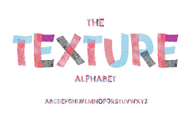 Latijns alfabet. textuurdoopvont in leuke beeldverhaal 3d stijl.