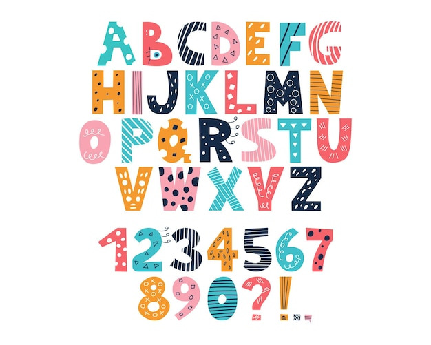 Latijns veelkleurig alfabet en cijfers van 0 tot 9 in de stijl van doodles op een witte achtergrond