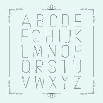 Latijnse dunne lijn alfabet