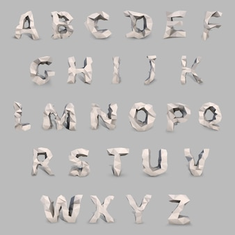 Latijnse hoofdletter in laag poly-stijl. virtueel objecten vectorconcept