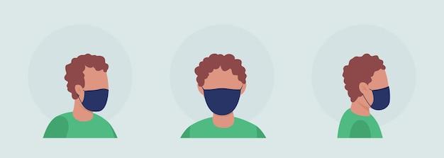 Latino jongen semi egale kleur vector karakter avatar met masker set. portret met gasmasker van voor- en zijaanzicht. geïsoleerde moderne cartoon-stijlillustratie voor grafisch ontwerp en animatiepakket