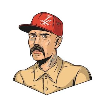 Latino man met snor en tatoeages met rode baseballpet en shirt in vintage stijl geïsoleerde illustratie