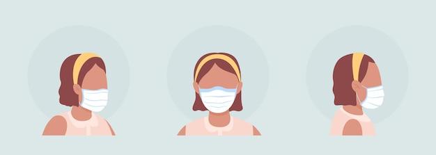 Latino meisje semi egale kleur vector karakter avatar met masker set