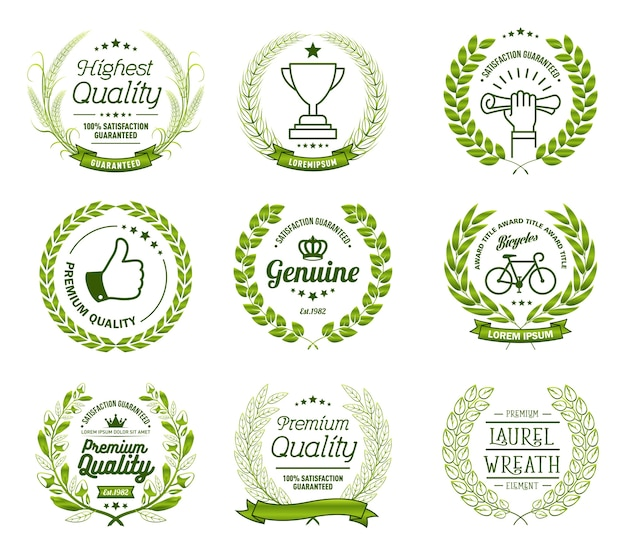 Laurel wreath badges vector