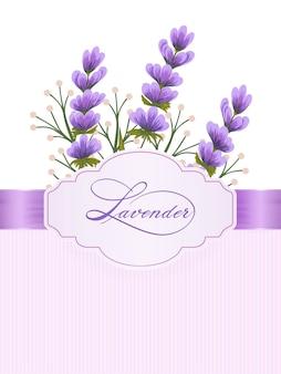 Lavandula bloemen. lavendelbloemen op achtergrond met elegante handgeschreven kalligrafie.