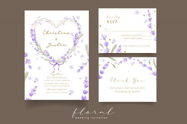 Lavendel aquarel bruiloft uitnodiging