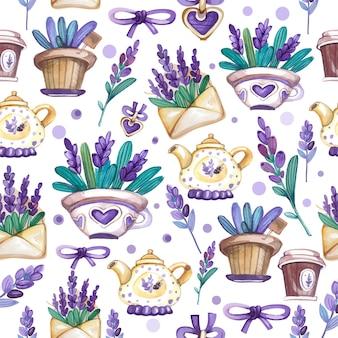 Lavendel aquarel naadloze patroon